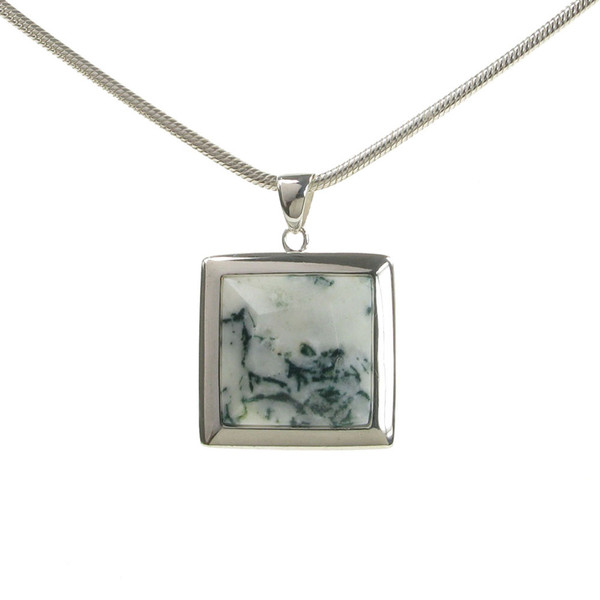 Sterling Silver and Tree Agate Square Pendant without Chain