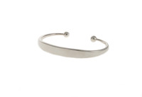 Chunky Hammered Silver Ball Ends Bangle