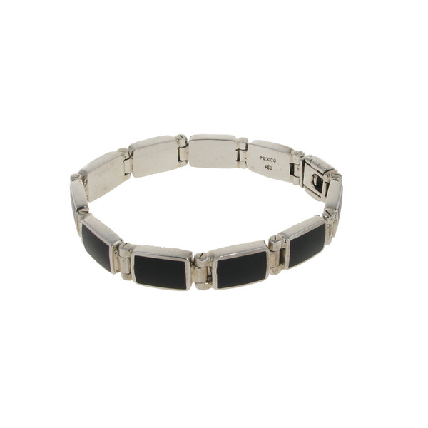 Sterling Silver and Black Agate Oblong Link Bracelet