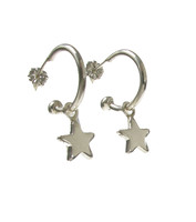 Sterling Silver Suspended Star Earrings