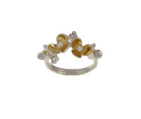 Silver and gold vermeil flower cluster ring