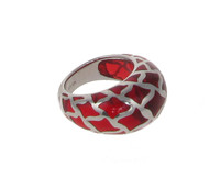Sterling Silver and Red Resin Lattice Ring
