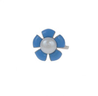 Sterling Silver and Blue Enamel Flower RIng