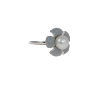 Sterling Silver and Grey Enamel Flower Ring