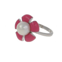 Sterling Silver and Pink Enamel Flower Ring