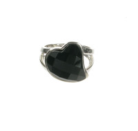 Sterling Silver and Black Agate Swept Heart Ring