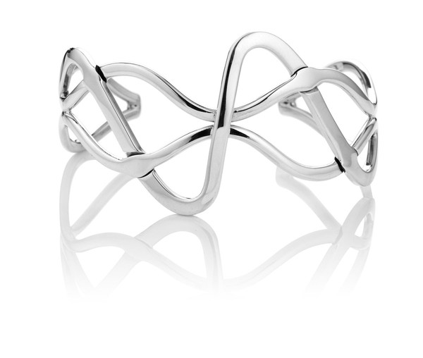 Sterling Silver Abstract Flowing Cuff Bangle
