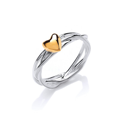 Silver and gold vermeil heart and wreath ring