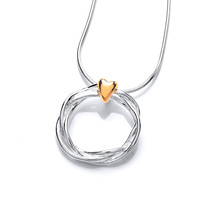 Silver and gold vermeil heart and wreath pendant