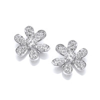 Sterling Silver and CZ Flower Stud Earrings