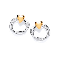 Sterling Silver and Gold Vermeil Heart and Wreath Stud Earrings