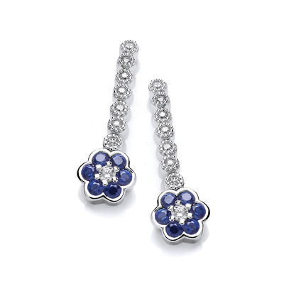 Sapphire Cubic Zirconia Pansy Earrings