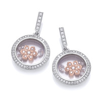 Celestial Rose Gold Flower Earrings