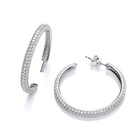 Wide Cubic Zirconia Hoop Earrings