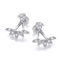 CZ Floral Jacket Earrings