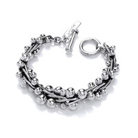 Super Heavy Graduated Silver Peppercorn Bracelet