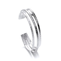 Multi Band Silver Cuff Bangle