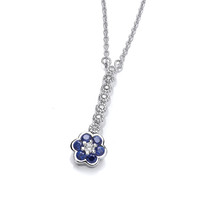 Sapphire Cubic Zirconia Pansy Necklace
