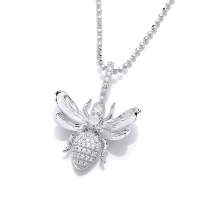 Cubic Zirconia Honey Bee Pendant