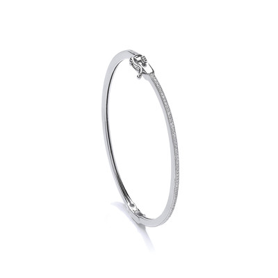 Fine Silver and CZ Hinged Bangle