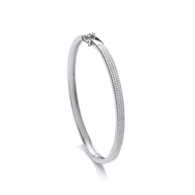 Elegant Silver & Cubic Zirconia Bangle