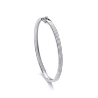 Elegant Silver and Micro Set CZ Bangle