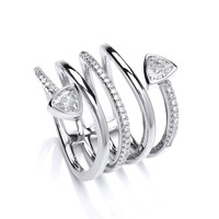 CZ Stylised Serpentine Ring