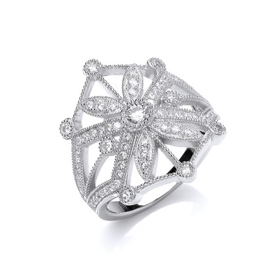 CZ and Silver Victorian Sun Ring