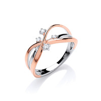 Rose Gold, Silver and CZ Slim Strand Ring