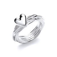 Entwined Silver and Heart Ring