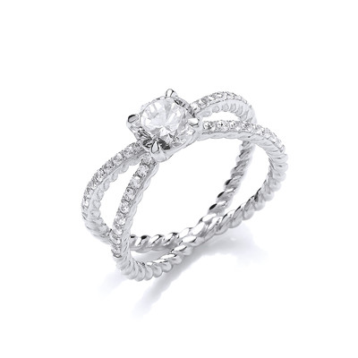 CZ Solitaire and Entwined Band Ring