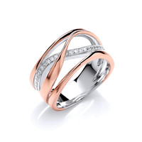 Silver, Rose Gold and CZ Wide Strand Ring