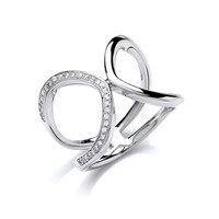 Silver and CZ Loop the Loop Ring