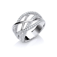 Silver and CZ Multi Twist Ring