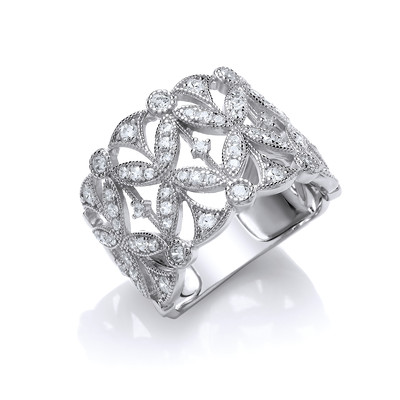 Victorian Style CZ Floral Ring