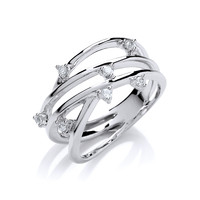 Silver and CZ Weave Ring