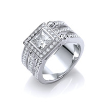 Cubic Zirconia and Triple Band Silver Ring