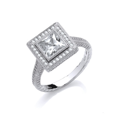 Framed Cubic Zirconia Sparkle Ring