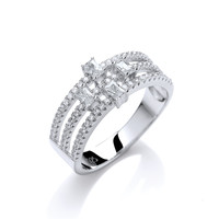 Cubic Zirconia Baguette Deco Style Ring