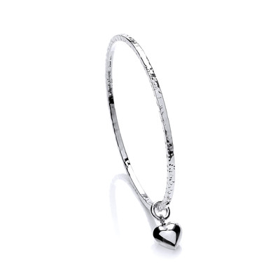 Sterling Silver Diddy Heart Charm Beaten Bangle