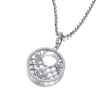 Pearl and Cubic Zirconia Round Lattice Pendant