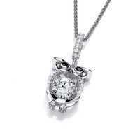 Cute CZ Owl with Dancing Stone Pendant