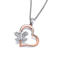 CZ Butterfly in Rose Gold Heart Pendant