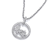 CZ Butterfly Circle Pendant
