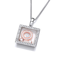 Celestial Mini CZ and Rose Gold Square Pendant