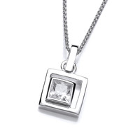 Silver and CZ Square in Square Pendant