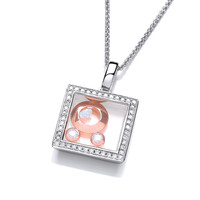 Mini Square Celestial Pendant with Rose Gold Moons