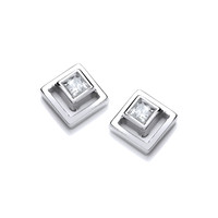 Silver and CZ Square in Square Earrings