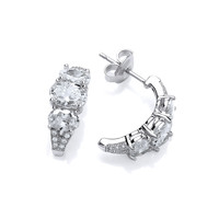 Triple Cubic Zirconia Half Hoop Earrings