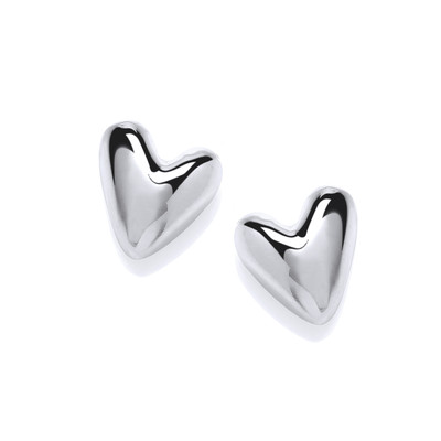 Polished Little Silver Heart Earrings